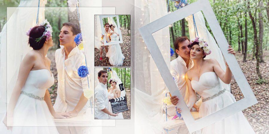 Colaj fotografii sedinta foto padure nunta Gabi si Catalin