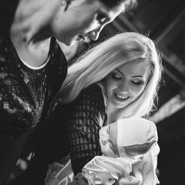 Fotografie alb negru botez