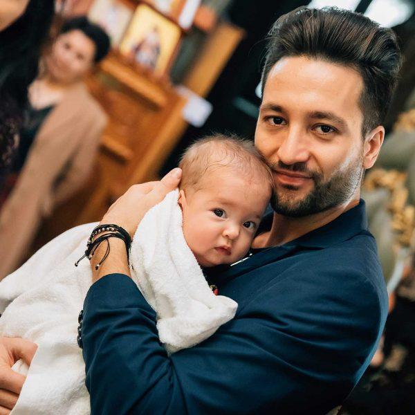 Fotografie tatal si copilul botez